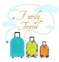 Family travel three suitcases vector