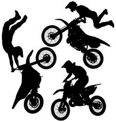 Motocross jump silhouette vector