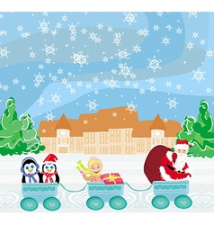 Santa christmas train - baby gifts and penguins vector
