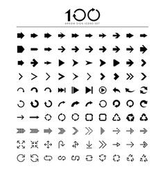 100 basic arrow sign icons set vector