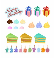 Set happy birthday cake candles figures vector