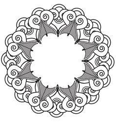 Indian henna tattoo inspired heart shapes wreath vector