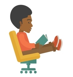 Black man sitting with a book vector