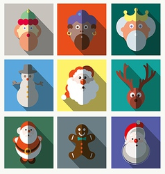 Christmas santa claus wisemen icons set vector