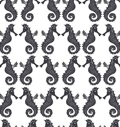 Seamless sea pattern with black sea horses on a vector