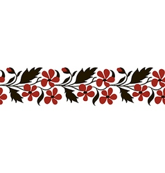 Seamless border with red flowers vector