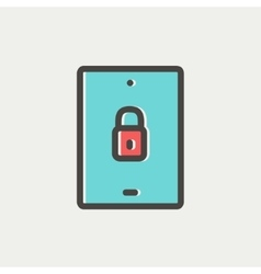 Smartphone security thin line icon vector
