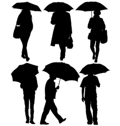 Man and woman with an umbrella silhouette vector