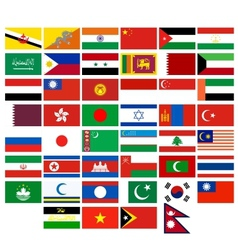 Flags of the countries of asia vector