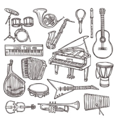 Musical instruments sketch icon vector