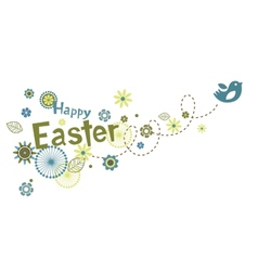 Easter greeting card with cute little bird vector