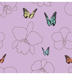 Seamless of butterfly and orchid vector