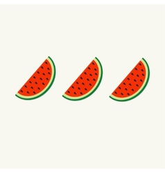 Watermelon slice cut with seed in a row set flat vector