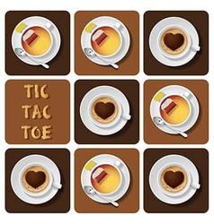 Tic-tac-toe of cappuccino and tea vector