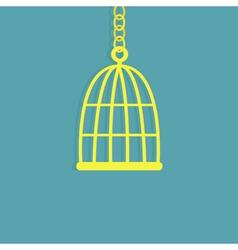 Golden birdcage cell flat design style vector