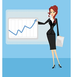 Cartoon of a business woman pointing to rising vector