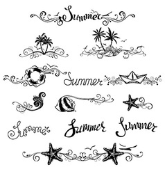 Set of summer design elements and page decorations vector