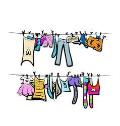 Clothes on the clothesline sketch for your design vector