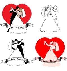 Sketches of beautiful young bride and groom in vector