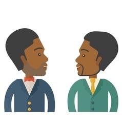 Two businessmen smiling vector