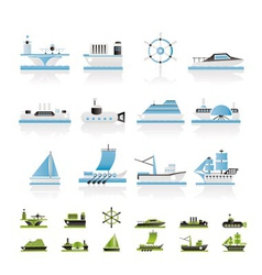 Different types of boat and ship icons vector