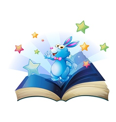 A book with a bunny surrounded with stars vector