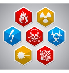 Danger hexagon icon sign set vector