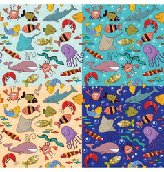 Seamless underwater wildlife vector