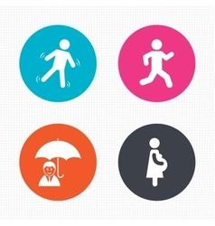 Businessman with umbrella human running symbol vector