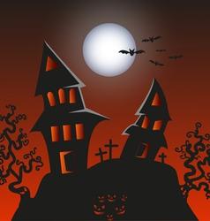 Haunted monster house - halloween background vector