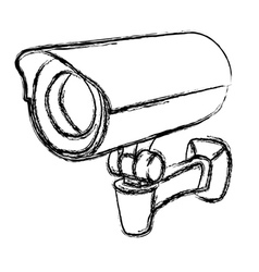 Black and white surveillance camera vector