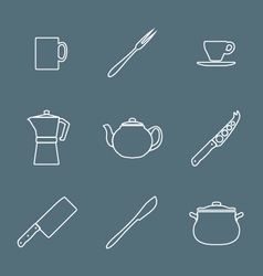 Flat white outline dinnerwarwe icons set vector