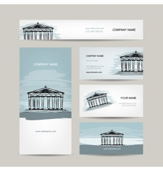 Business card design antique style building with vector