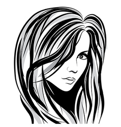 Girl sketch face vector