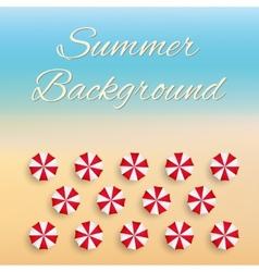 Beach background with sun umbrellas vector