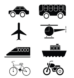 Silhouette of transportation icon set vector