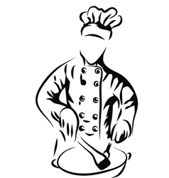 Chef cooking in kitchen vector