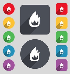 Fire flame icon sign a set of 12 colored buttons vector