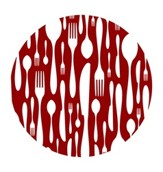 Cutlery pattern on red background vector