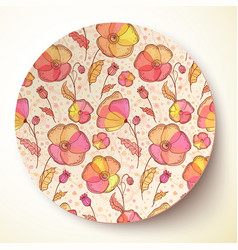Bright colors flower pattern on plate vector