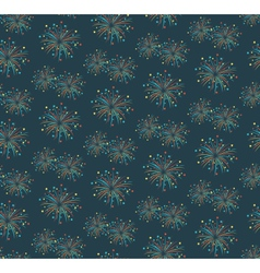 Seamless firework salute pattern isolated on blue vector