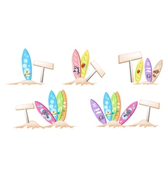 Set of surfboards with wooden placard vector