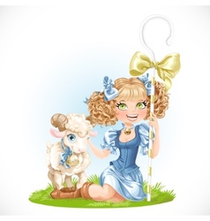 Cute shepherdess with lamb sit on green grass vector