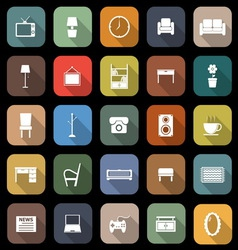 Living room flat icons with long shadow vector