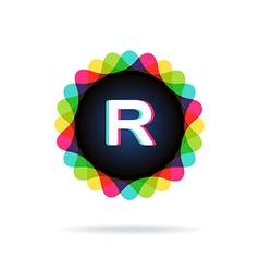 Retro bright colors logotype letter r vector