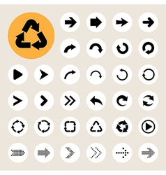 Basic arrow sign icons set vector