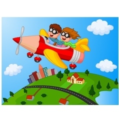 School children enjoying airplane pencil vector