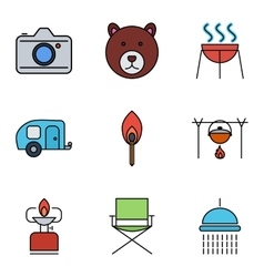 Camping outline stroke icon vector