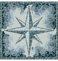 Cracked colored fresco with wind-rose vector