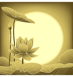 Oriental mid autumn festival lotus flower vector